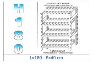 IN-18G47018040B Shelf with 4 slotted shelves hook fixing dim cm 180x40x180h