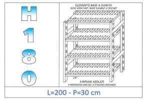 IN-18G47020030B Scaffale a 4 ripiani asolati fissaggio a gancio dim cm 200x30x180h