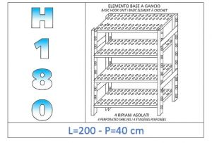 IN-18G47020040B Shelf with 4 slotted shelves hook fixing dim cm 200x40x180h