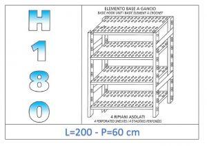 IN-18G47020060B Scaffale a 4 ripiani asolati fissaggio a gancio dim cm 200x60x180h