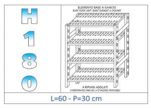 IN-18G4706030B Scaffale a 4 ripiani asolati fissaggio a gancio dim cm 60x30x180h