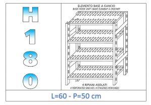 IN-18G4706050B Scaffale a 4 ripiani asolati fissaggio a gancio dim cm 60x50x180h