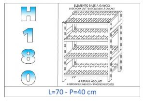 IN-18G4707040B Shelf with 4 slotted shelves hook fixing dim cm 70x40x180h