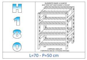 IN-18G4707050B Scaffale a 4 ripiani asolati fissaggio a gancio dim cm 70x50x180h