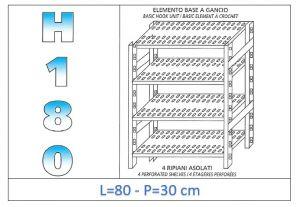 IN-18G4708030B Scaffale a 4 ripiani asolati fissaggio a gancio dim cm 80x30x180h