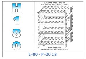IN-18G4708030B Shelf with 4 slotted shelves hook fixing dim cm 80x30x180h