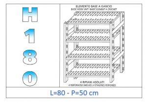 IN-18G4708050B Scaffale a 4 ripiani asolati fissaggio a gancio dim cm 80x50x180h