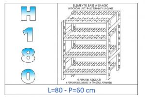 IN-18G4708060B Scaffale a 4 ripiani asolati fissaggio a gancio dim cm 80x60x180h