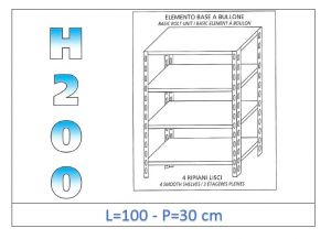 IN-46910030B Shelf with 4 smooth shelves bolt fixing dim cm 100x30x200h