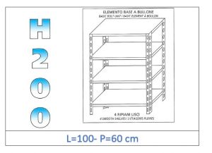 IN-46910060B Shelf with 4 smooth shelves bolt fixing dim cm 100x60x200h
