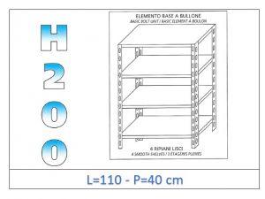 IN-46911040B Scaffale a 4 ripiani lisci fissaggio a bullone dim cm 110x40x200h