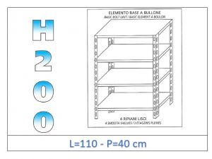 IN-46911040B Shelf with 4 smooth shelves bolt fixing dim cm 110x40x200h