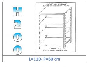 IN-46911060B Shelf with 4 smooth shelves bolt fixing dim cm 110x60x200h