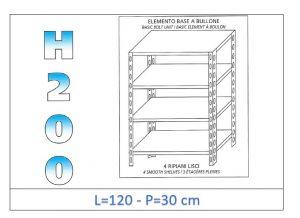 IN-46912030B Scaffale a 4 ripiani lisci fissaggio a bullone dim cm 120x30x200h