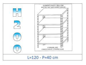 IN-46912040B Scaffale a 4 ripiani lisci fissaggio a bullone dim cm 120x40x200h