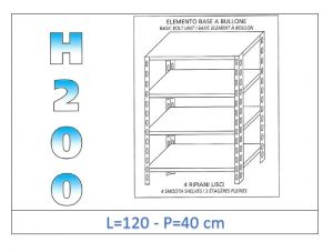 IN-46912040B Shelf with 4 smooth shelves bolt fixing dim cm 120x40x200h