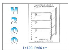 IN-46912060B Shelf with 4 smooth shelves bolt fixing dim cm 120x60x200h