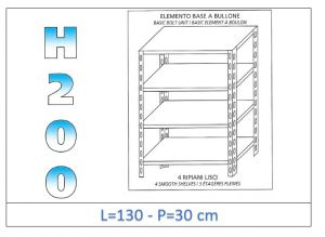 IN-46913030B Shelf with 4 smooth shelves bolt fixing dim cm 130x30x200h