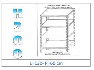 IN-46913060B Shelf with 4 smooth shelves bolt fixing dim cm 130x60x200h