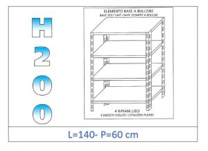 IN-46914060B Shelf with 4 smooth shelves bolt fixing dim cm 140x60x200h