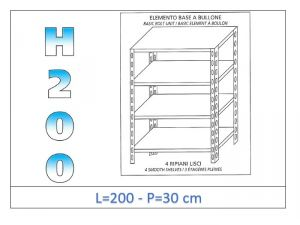 IN-46920030B Shelf with 4 smooth shelves bolt fixing dim cm 200x30x200h