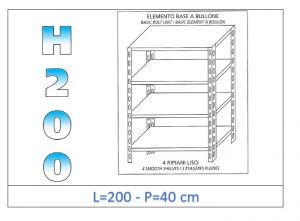 IN-46920040B Shelf with 4 smooth shelves bolt fixing dim cm 200x40x200h