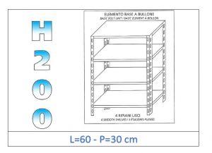 IN-4696030B Scaffale a 4 ripiani lisci fissaggio a bullone dim cm 60x30x200h