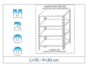 IN-4697030B Scaffale a 4 ripiani lisci fissaggio a bullone dim cm 70x30x200h