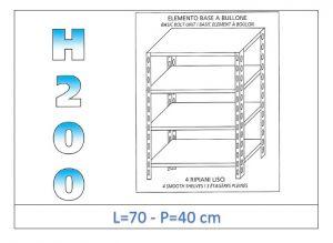 IN-4697040B Scaffale a 4 ripiani lisci fissaggio a bullone dim cm  70x40x200h