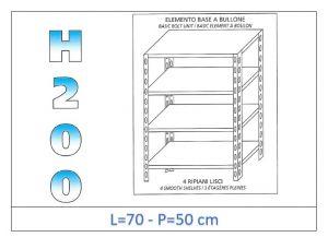 IN-4697050B Scaffale a 4 ripiani lisci fissaggio a bullone dim cm 70x50x200h