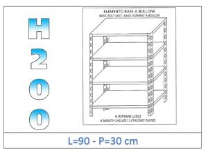 IN-4699030B Scaffale a 4 ripiani lisci fissaggio a bullone dim cm 90x30x200h