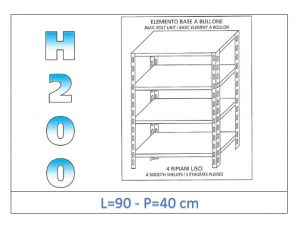 IN-4699040B Shelf with 4 smooth shelves bolt fixing dim cm 90x40x200h