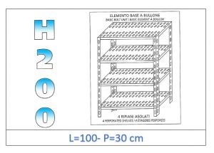 IN-47010030B Shelf with 4 slotted shelves bolt fixing dim cm 100x30x200h