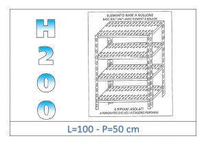 IN-47010050B Shelf with 4 slotted shelves bolt fixing dim cm 100x50x200h
