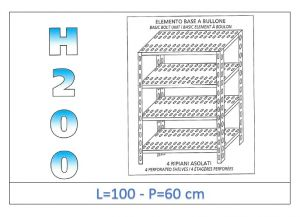 IN-47010060B Shelf with 4 slotted shelves bolt fixing dim cm 100x60x200h
