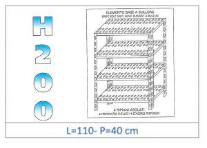 IN-47011040B Scaffale a 4 ripiani asolati fissaggio a bullone dim cm 110x40x200h