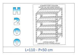 IN-47011050B Scaffale a 4 ripiani asolati fissaggio a bullone dim cm 110x50x200h