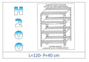 IN-47012040B Shelf with 4 slotted shelves bolt fixing dim cm 120x40x200h