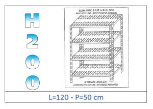 IN-47012050B Shelf with 4 slotted shelves bolt fixing dim cm 120x50x200h