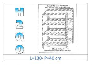 IN-47013040B Scaffale a 4 ripiani asolati fissaggio a bullone dim cm 130x40x200h