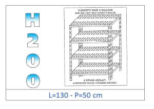 IN-47013050B Shelf with 4 slotted shelves bolt fixing dim cm 130x50x200h