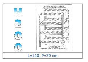 IN-47014030B Scaffale a 4 ripiani asolati fissaggio a bullone dim cm 140x30x200h
