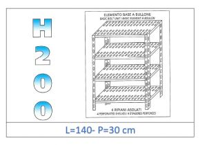 IN-47014030B Shelf with 4 slotted shelves bolt fixing dim cm 140x30x200h