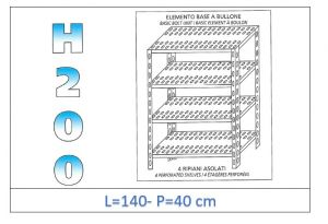 IN-47014040B Shelf with 4 slotted shelves bolt fixing dim cm 140x40x200h