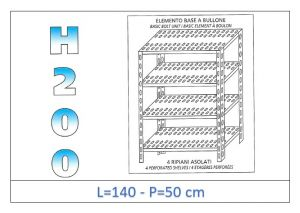 IN-47014050B Shelf with 4 slotted shelves bolt fixing dim cm 140x50x200h