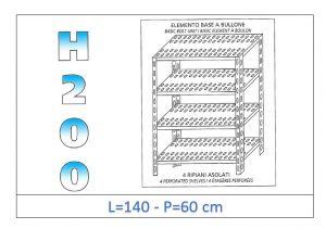 IN-47014060B Scaffale a 4 ripiani asolati fissaggio a bullone dim cm 140x60x200h