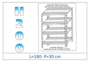 IN-47018030B Shelf with 4 slotted shelves bolt fixing dim cm 180 x30x200h