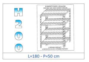IN-47018050B Scaffale a 4 ripiani asolati fissaggio a bullone dim cm 180x50x200h
