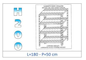IN-47018050B Shelf with 4 slotted shelves bolt fixing dim cm 180x50x200h