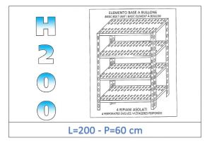 IN-47020060B Shelf with 4 slotted shelves bolt fixing dim cm 200x60x200h